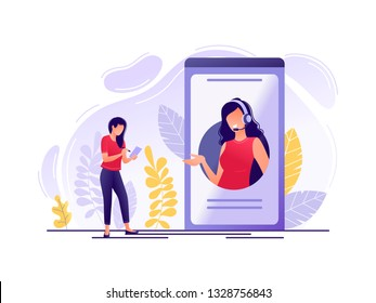 Online technical support. Woman near big phone with female hotline operator. Online assistant, virtual help service, 24-7, customer and operator. Flat concept vector illustration