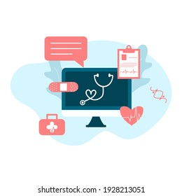 Online tele medicine flat illustration. Online medical consultation and treatment via application of computer connected internet clinic. Online ask doctor consultation technology in mobile vector.
