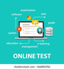 online test exams quiz with computer laptop assessment