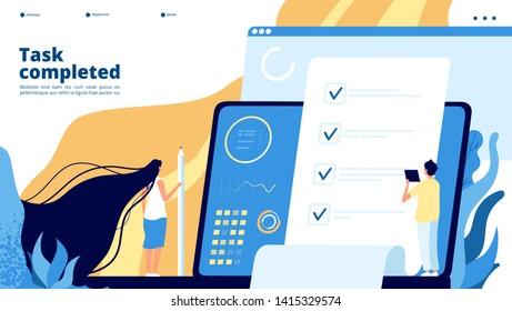Online test landing. Internet questionnaire, survey voting quiz. Students, big checklist on screen. Exam test education vector concept
