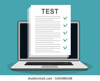 Online Test On Laptop Online Testing Stock Vector Royalty Free 1455484148