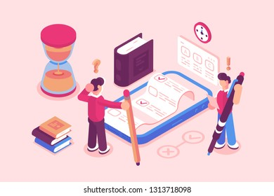 Online testing or exam service vector illustration. Boy taking test on mobile phone via web app. Modern gadget with checklist choosing answer or questionnaire form. E-learning education concept
