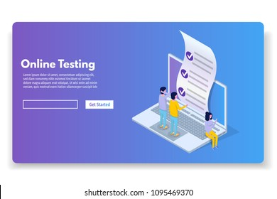 Online testing,E-learning, education isometric concept. Vector illustration.