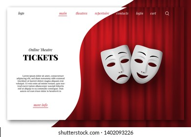 Online theatre tickets vector landing page template. Comedy and Tragedy theatrical mask isolated on a red curtain background