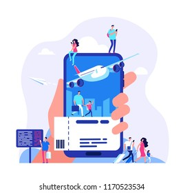 Online ticket concept. Buying tickets with smartphone. People booking plane or train travel vector illustration. Buy ticket online, journey service, vacation and tourism airplane