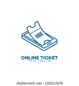 Online ticket logo design template in linear style. Vector illustration.
