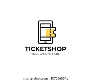 Online ticket shop logo template. Mobile phone and tickets vector design. Online ticket center logotype