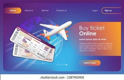 Online tickets reservation banner. Promo Booking online flights travel. Airline e-tickets purchase template. Concept for web page, presentation, smm, ad, site. Vector illustration. UX/UI/GUI design