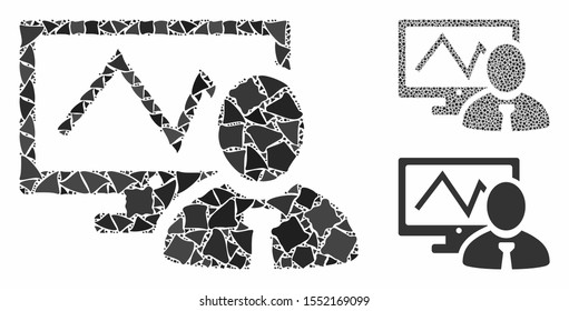 Online trader mosaic of tuberous items in variable sizes and color tints, based on online trader icon. Vector joggly items are grouped into collage. Online trader icons collage with dotted pattern.