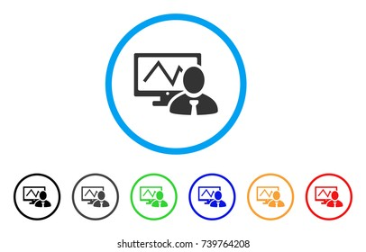 Online Trader rounded icon. Style is a flat grey symbol inside light blue circle with additional color versions. Online Trader vector designed for web and software interfaces.