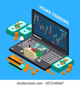 Online trading on stock exchange at home isometric composition with money, laptop, payment cards, vector illustration