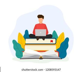 Online training courses, online book, tutorials. Education concept. Vector modern illustration. Flat design. EPS 10.