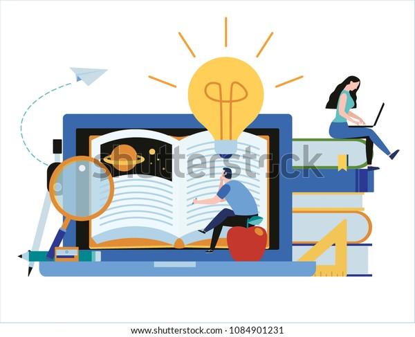 Cursos De Formación En Línea Ilustración Vectorial Concepto De Educación Empresarial A Distancia Tutoriales De Estudio De Internet Desarrollo De Habilidades Diseño De Caricaturas Planas Para El Afiche Web Móvil