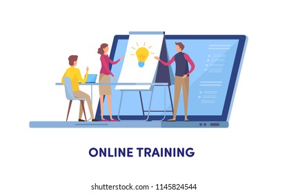 Online training, Education center, Online course, Training, Coaching, Seminar. Cartoon miniature illustration vector graphic on white background.