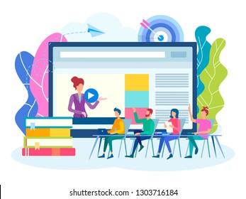 Online training, group lessons, seminars, workshops. Online webinar, Colloquium, team work concept. Vector illustration for social media marketing.
