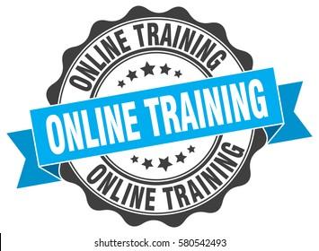 online training. stamp. sticker. seal. round grunge vintage ribbon online training sign