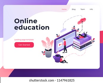 Online training, workshops and courses visualization flat 3d web isometric concept vector landing page template. Small people look at the screen and using cloud technology. Vector illustration