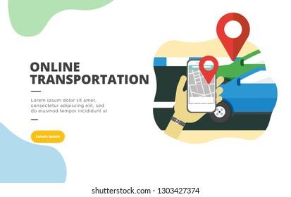 Online Trans flat design banner illustration concept for digital marketing and business promotion