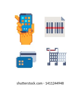 Online transaction pixel art icons set. Transaction code. Smartphone, credit card, barcode and trolley cart. Isolated vector illustration. Design for logo, sticker, app