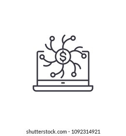 Online transactions linear icon concept. Online transactions line vector sign, symbol, illustration.