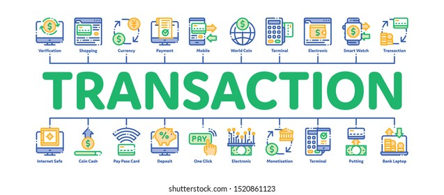 Online Transactions Minimal Infographic Web Banner Vector. Online Transactions, Secure Financial Payment Operation Linear Pictograms. Internet Banking Money Deposit, Currency Exchange Illustrations