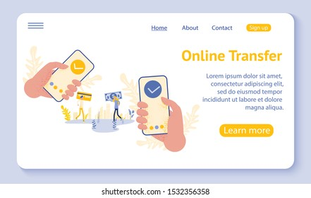Online transfer concept with hand holding smartphone and press send button, template, web, poster, banner, mobile app, UI, vector illustration