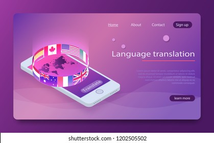 Online translator concept isometric vector illustration. Smartphone with flags of different states and world map on the screen concept translator app. Foreign language online learning isometric vector