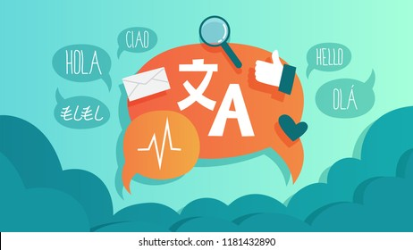 Online translator in mobile phone or another device. Translate foreign language fast and easy. Global wireless technology. Flat vector illustration