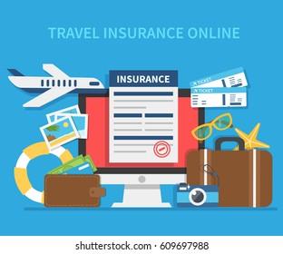 Online travel insurance concept. Vector illustration.