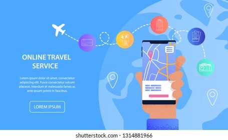 Online Travel Service Vacation Assistance Tourist. Banner Vector Illustration Male Hand Holding Mobile Phone. Mobile Applications for Buying Airline Tickets, Visa, Hotel Booking, Check-In