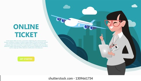 Online travel store, online ticket booking. Buying air tickets from home using your phone, tablet, computer. E-shopping concept. Use for landing page, template, ui, web, mobile app, poster, banner