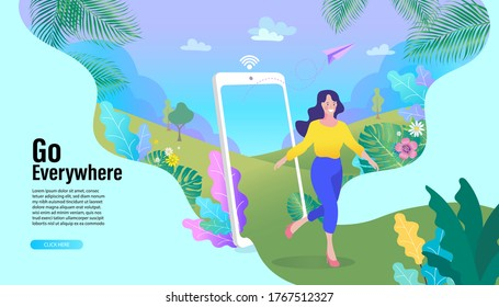 Online Travelling Illustration for landing page. Travel and vacation concept. Woman with a smartphone. Walk in the park in nature along the path.