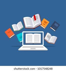 Online tutoring  concept. E-books, internet courses process. Vector illustration.