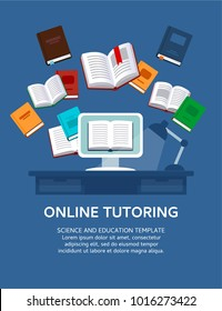 Online tutoring. Vector illustration concept. E-books, internet courses process.