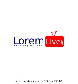 Online TV Channel Logo Concept, Live Streaming Logo Design Template, Red TV Icon