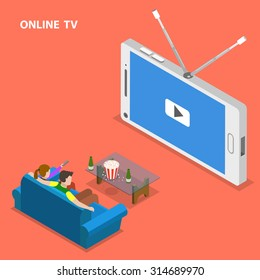 Online TV isometric flat vector illustration. Boy and girl sit on the sofa and watch TV set that looks like mobile phone.
