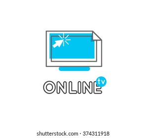 Online tv vector logo. Internet media. Broadcast online vector logo. Video content.