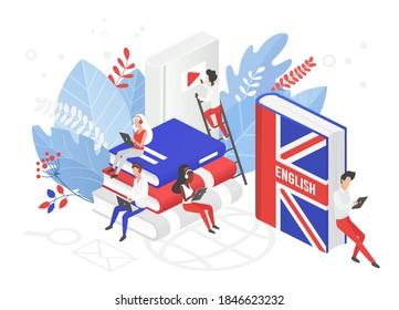 Online UK English language courses isometric 3d vector illustration. Distance education, remote school, Great Britain university. Students reading books Internet class, e learning language school