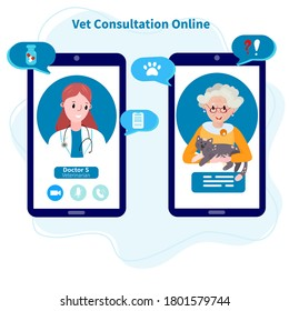 Online Veterinary appointment. Telehealth for pet. Remote Vet consultation. Doctor check up cat. Conference with veterinarian clinic from home.