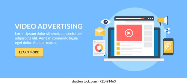 Online Video, advertising, movie marketing flat vector banner with button