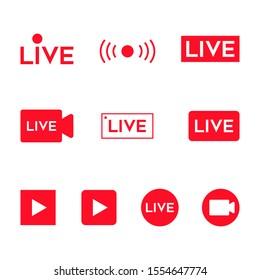 Online video broadcasting icon set