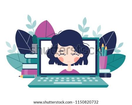 Online Video Conversation Girls Head Peeps Stock Vector Royalty