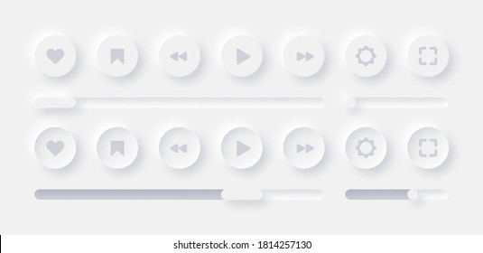 Online Video Media Player UI Neumorphism Light Version Vector Design Elements Set On White Background. UI Components Buttons, Bars, Sliders In Elegant Neumorphic Style For Apps, Websites, Interfaces