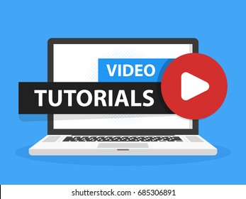 Online video tutorials education button in Laptop notebook computer screen. Play lesson concept. Vector illustration.