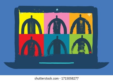Online Virtual Meeting, Zoom, Meeting, Grunge Texture Illustration, Friends Chatting Online, Social Distancing Concept, Conference video call, working from home. Meeting, Video Call, Business
