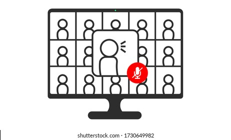 Online Virtual Meetings, Work from Home. Teleconference Meeting, Webinar Microphone Mute Vector Icon Illustration