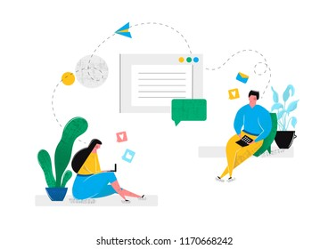 Online virtual relationships dating in social networks chat rooms in internet. Man and woman communicate on laptop with each other sitting at home. Internet virtual reality. Vector illustration