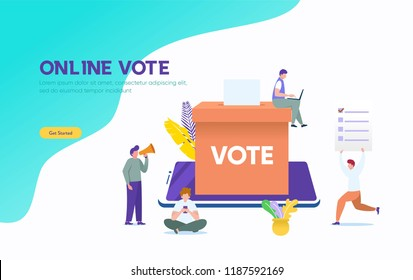 Online vote vector illustration concept, people give vote and putting papper vote in to the ballot box , can be use for, landing page, web, ui, banner, flyer, poster, template, background