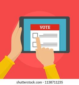 Online voting background. Flat illustration of online voting vector background for web design