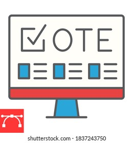Online voting color line icon, election and online vote, monitor sign vector graphics, editable stroke filled outline icon, eps 10